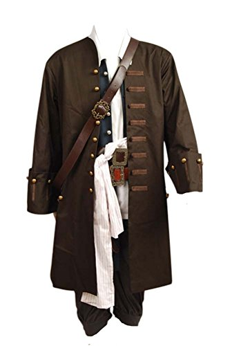 Pirates of The Caribbean Jack Sparrow Jacke Mantel Cosplay Kostüm XL