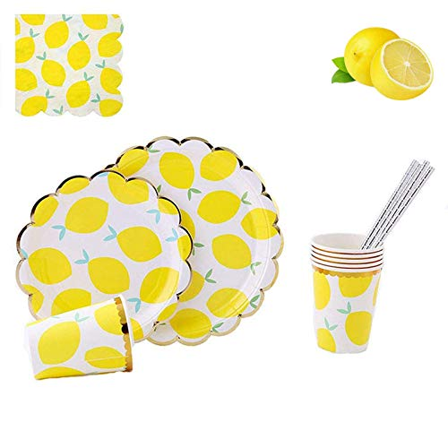 112 Piece Disposable Dinnerware Set,MaitianGuyou Party Supplies with 20 Dinner Plates, 20 Dessert Plates, 20 Cups, 20 Straws,32 Napkins for Party, Birthday, Wedding(Lemon)