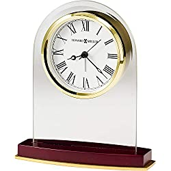 Howard Miller Anson Table Clock 645-786 – Brass and Rosewood Home Decor with Quartz, Alarm Movement