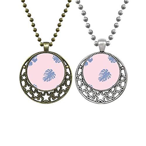Beauty Gift Colar com pingente de flores abstratas em pó azul para amantes da arte retrô lua, estrelas