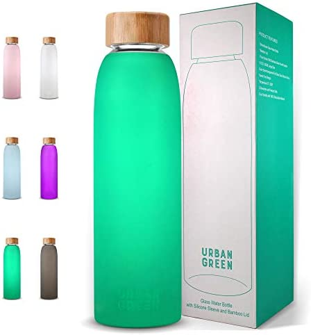 Glass Water Bottle with Protective Silicone Sleeve and Bamboo Lid Urban green 18oz 1extra 304 product image