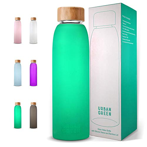 Glass Water Bottle with Protective Silicone Sleeve and Bamboo Lid Urban green, 18oz, 1extra 304 Stainless Steel Lid with Handle, BPA Free, Dishwasher Safe, Best gift