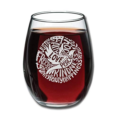 CATNEZA Grappige Libbey Wijnglas - Vrede En Liefde Gegraveerde Tumbler Perfect Nieuwigheid Geschenken Voor Mannen of Vrouwen 12 ounce