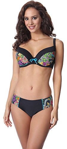 Merry Style Conjunto Bikini Sujetador y Bragas 2 Piezas Mujer P63602 (Patrón-v2, EU(Top 75 H / 38)=ES(90H/40))