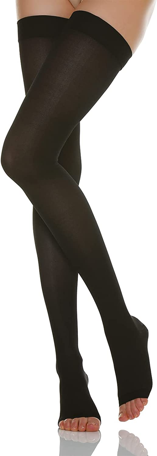 Relaxsan Basic 960A - open-toe firm support thigh high stockings 20-30 mmHg for suspender belts, 100% Made in Italy
