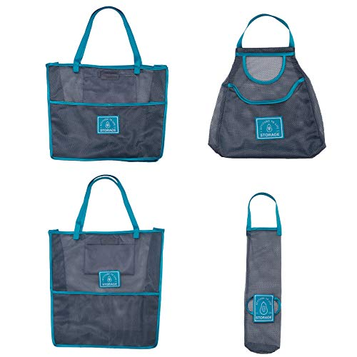 AZYJBF Bolsas de Malla Reutilizables (4 Piezas)- Bolsa de Compra Rejilla Plegable- Bolsa de Red con Durable para Abarrotes, Frutas, Verduras