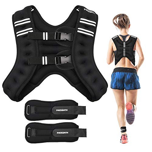 PACEARTH Weighted Vest with Ankle/Wrist Weights 6lbs/12lbs Adjustable Body Weight Vest with Reflective Stripe Workout Equipment for Strength Training, Cardio, Walking, Jogging, Running for Men Women
