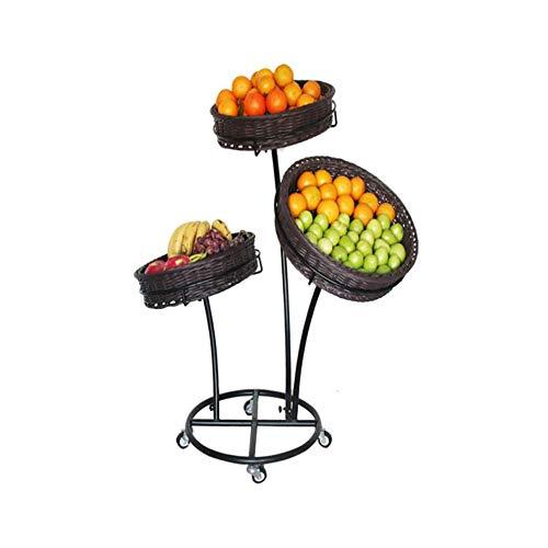 ZXWNB Cesta De Frutas, Supermercado Extraíble De Tres Pisos Estante De Ratán Tienda De Conveniencia Creativa Cantina De Frutas Y...