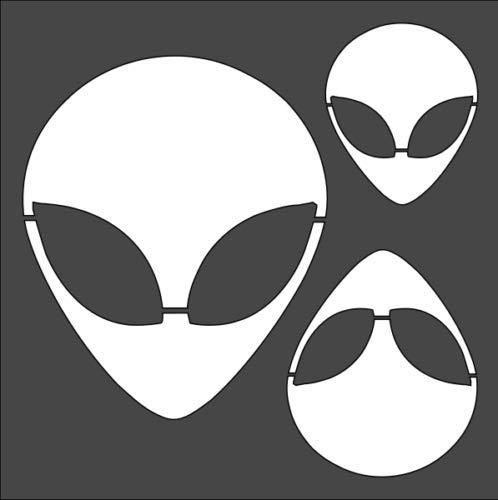 Stencil Alien Head Design, Plastic Reusable