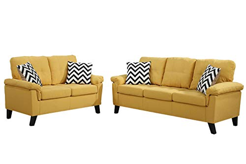 Poundex F6906 Bobkona Tyler Linen-Like 2 Piece Sofa and Loveseat Set, Citrus
