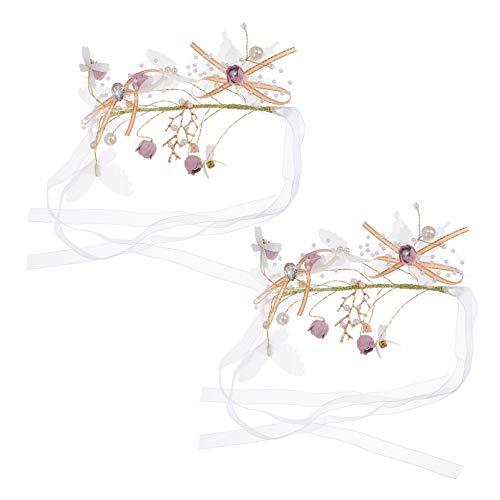 SOIMISS 2 pulseras corpiño para muñeca con rosas, para dama de honor, boda, flores, mejor hombre y niña, accesorio morado