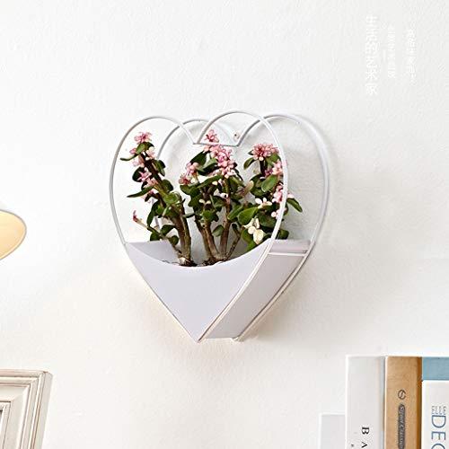 Deko-Shop-Hannusch Décoration murale en forme de cœur en fer pour décoration de maison, blanc