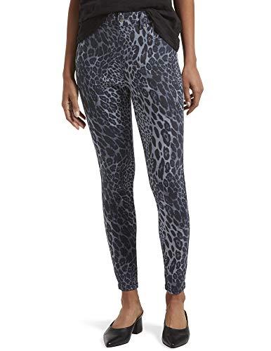 HUE Damen Ultra Soft Denim High Waist 7/8 Leggings, Blauer Leopard, Mittel