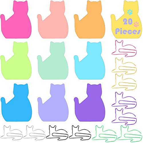 350 Sheets 10 Colors Silhouette Cat Sticky Notes Set with 10 Pieces 6 Colors Cat Paper Clips Cat Shaped Bookmark Clips Cat Self-Stick Notes Set for Office School Home Supplies Cat Lover Presents