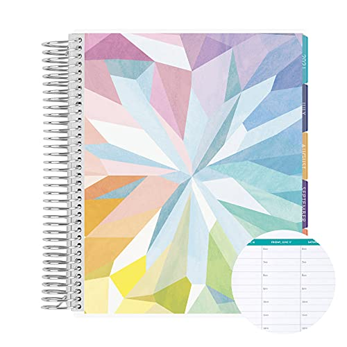 18 Month 7' x 9' Spiral Coiled Hourly Life Planner/Agenda (July 2021 - December 2022). Kaleidoscope Flexible Cover, Mid Century Circles Interior Design by Erin Condren