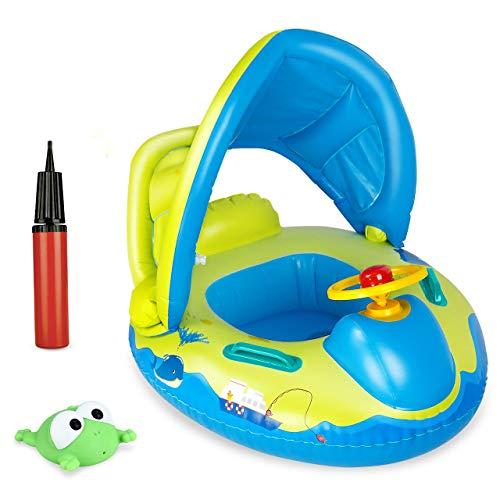 joylink Flotador Hinchable Bebé, Piscina Barco Inflable Flotador con Toldo y Volante, Anillo de Natación Baby Swim Float para Bebés Niños de 1 Años y Más