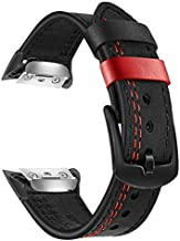 TRUMiRR Gear Fit 2 Watchband, Double Color Genuine Leather Watchband Stainless Steel Clasp Strap Sports Wristband Wrist Bracelet for Samsung Gear Fit 2 SM-R360 / Fit2 Pro SM-R365 Smartwatch