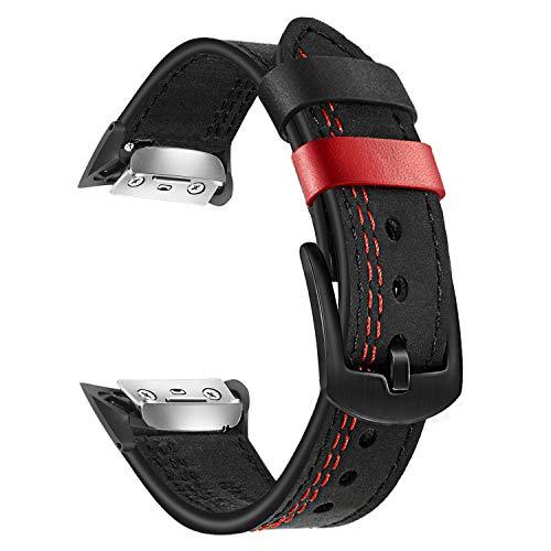 TRUMiRR Ersatz für Gear Fit 2 Armband, Doppelt Farbe Echtes Leder Uhrenarmband Edelstahl Verschluss Armband Sport Ersatzband für Samsung Gear Fit 2 SM-R360 / Fit2 Pro SM-R365 Smartwatch