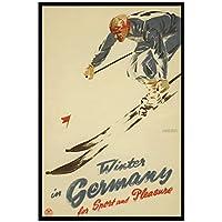 zkpzk ヴィンテージスキースポーツ旅行ポスタードイツの冬クラシックキャンバス絵画壁アートワークポスター家の装飾ギフト-40X60Cmx1フレームなし