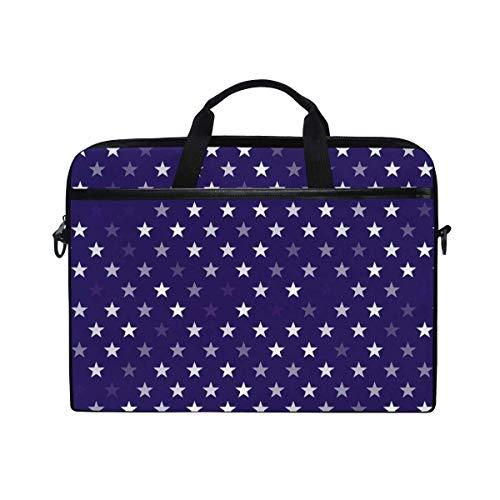 Laptop Sleeve Case,Laptop Bag,Purple White Glitter Stars Pattern Water Briefcase Messenger Notebook Computer Bag with Shoulder Strap Handle,28.5×38 CM/14 Inch
