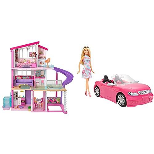 Barbie Casa De Muñecas con Accesorios, La Casa De Tus Sueños, con Elevador Nuevo (Mattel Gnh53) + Muñeca Y Su Coche Descapotable (Mattel Fpr57) , Color/Modelo Surtido