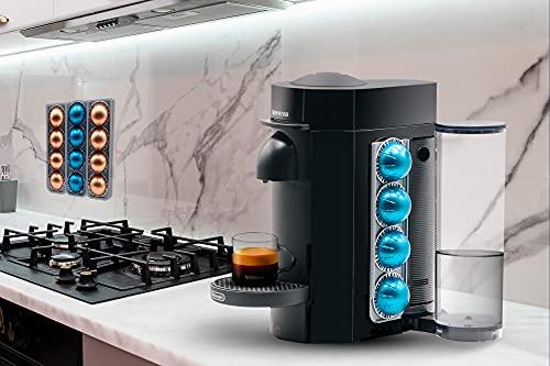 R&R SHOP - Kapselhalter für Nespresso Vertuo, kann auf jeder Oberfläche geklebt werden, wie Wand, Kühlschrank und kompatibel mit Vertua Nespresso-Maschinen mit 3M-Aufklebern, je 4 Kapseln – 2 Stück