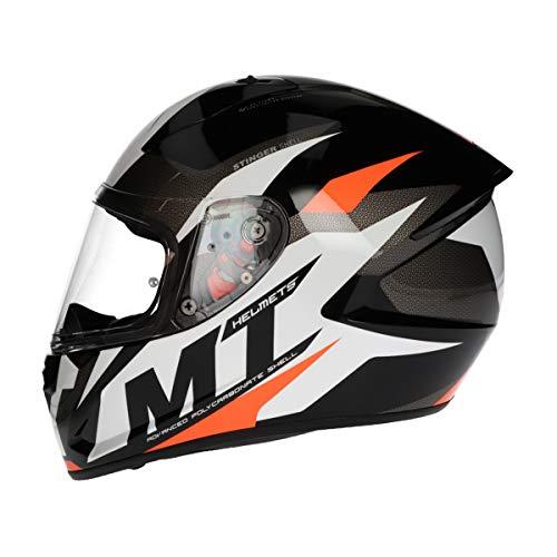 MT Stinger Integralhelm   Roller/Motorrad Helm Klapphelm 2mm Vizier kratzfest   inkl. eingebaute Lautsprechertaschen und kostenloser Helmmütze (Brave orange, S)