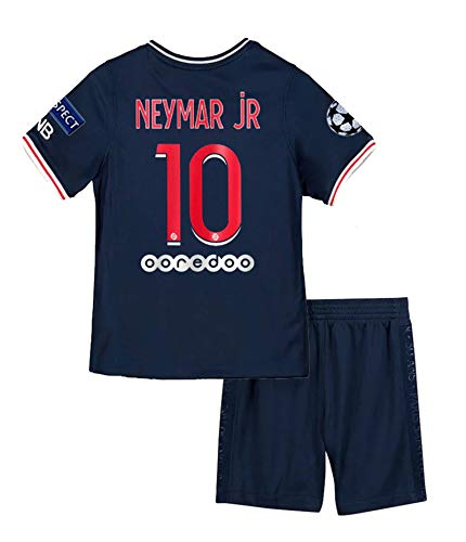 Paris 2020-2021 New Season #10 Neymar Kids/Youth Soccer Home Jersey & Shorts & Armbands T-Shirts Color Blue Size 22
