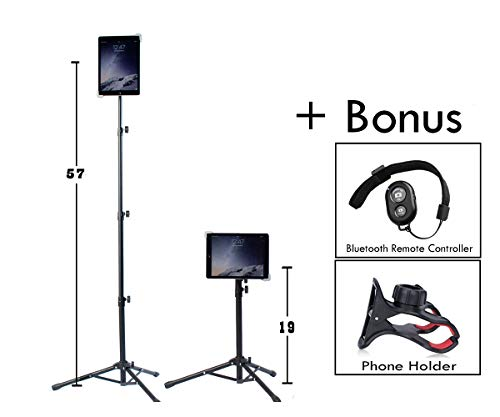 Universal Floor IPad and Tablet Tripod Stand Mount COMPLIMENTARY BLUETOOTH REMOTE, PHONE HOLDER. Fits iPad iPad Air Samsung Dell Sony Surface Nexus and tablet 7 to 12 inch CARRYING CASE INCLUDED