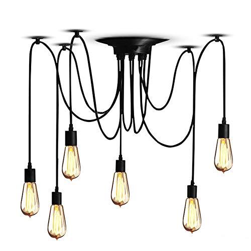Cocoarm Spinne Kronleuchter DIY Decke Spider Lampe Retro Industry Ceiling Light Vintage Pendelleuchte Hängeleuchte Hängende Lampen Deckenbeleuchtung Speisesaal Schlafzimmer Hotel Dekoration (6 Kopf)