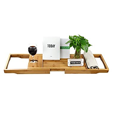 Yontree Bamboo Bathtub Caddy Tray Bathroom Organizer with Expanding sides Tablet Holder Wine Glass Holder Soap Holder (29-43) x9.1x1.8 In.