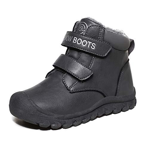 L-RUN Kids Snowboots for Boys Outdoor Hiking Boots Waterproof Grey 2 Little Kid