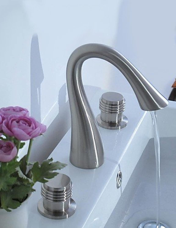- Contemporary Nickel Three Holes Two Handles Waterfall Bathroom Sink Faucet