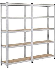 Yaheetech Set van 2 opbergrekken, 180 x 90 x 30 cm, voor zware lasten, 10 planken, kelderrek, 875 kg, metalen rek, reksysteem