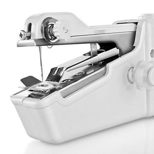Lmbqye Máquina de Coser De Mano, Mini Máquina De Coser Eléctrica Portátil, Pequeña Máquina De Coser De Puntada Práctica Inalámbrica Para Ropa De Reparación Rápida De Telas (Color: Blanco)