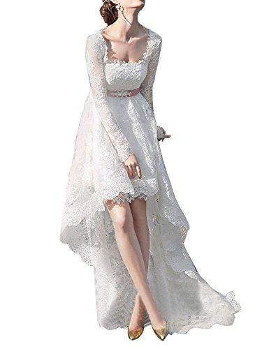 Tianshikeer Brautkleider Langarm Spitze Vorne Kurz Hinten Lang Hochzeitskleider