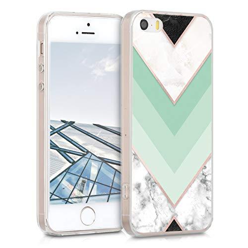 kwmobile Hülle kompatibel mit Apple iPhone SE (1.Gen 2016) / 5 / 5S - Handyhülle - Handy Case Marmor Mintgrün Rosegold Weiß