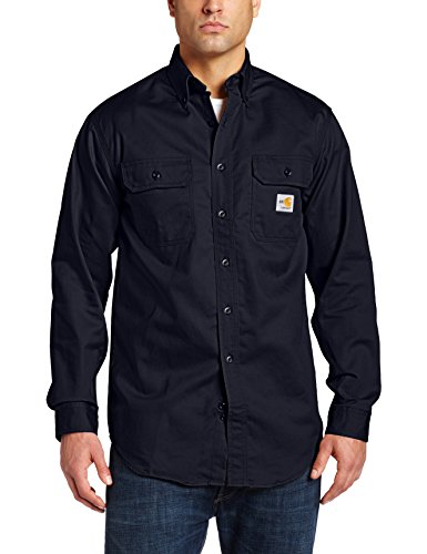 Carhartt Men's Flame Resistant Classic Twill Shirt,Dark Navy,Large