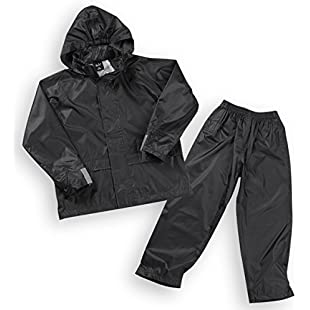 Boys Kids Childrens Waterproof Jacket Coat Trousers Pants Set Hooded Tracksuit Black 5-6 Years