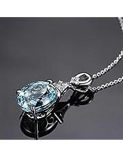 Barhunkft(TM) Fashion Gemstone Natural Aquamarine Silver Chain Pendant Necklace Women Jewelry