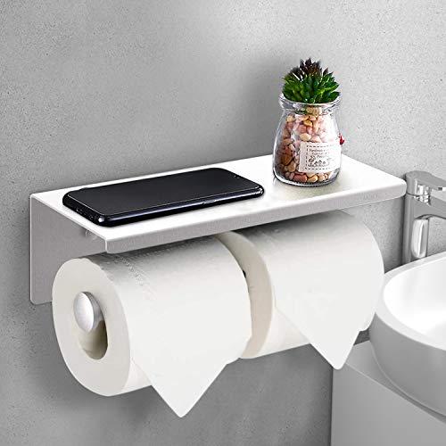 Mokyu Toilettenpapierhalter klopapierhalter mit Ablage 28cm Rollenhalter Papierhalter klorollenhalter Edelstahl Wandmontage für WC und Badezimmer Silber