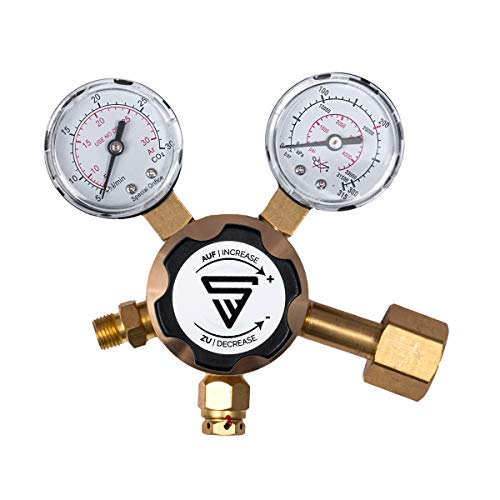 STAHLWERK Druckminderer für ARGON / CO2 / Mischgas/Schutzgas bis 200 Bar und 32 L/Min für WIG/MIG MAG Schweißgeräte