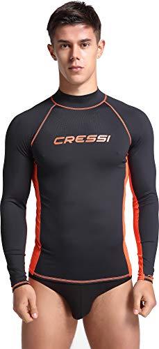 Cressi Rash Guard Man Long SL, Maglia Elastica Protettiva Maniche Lunghe Uomo, Nero/Arancio, M