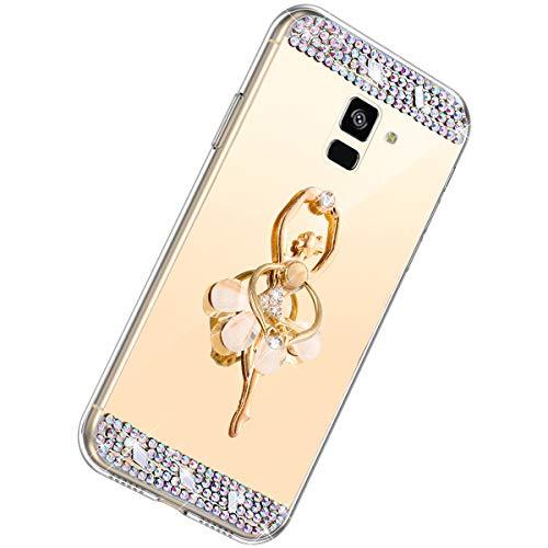 Herbests Compatible con Samsung Galaxy A6 2018 Funda de Espejo Flexible Diamante a Strass...