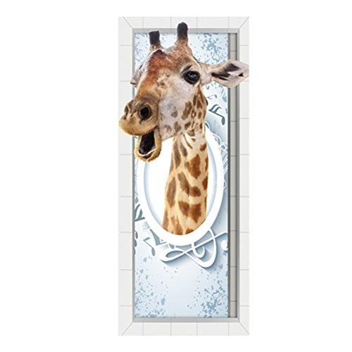 WINOMO Türposter Türtapete selbstklebend 3D Türbild Giraffe-Muster Türaufkleber Tür Deko fototapeten