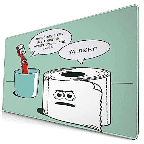 Nettes Mauspad ,Lustige Dekoration Zahnbürste und Papierhandtuch,Rechteckiges rutschfestes Gummi-Mauspad für den Desktop, Gamer-Schreibtischmatte, 15,8