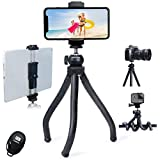 Endurax iPad Tripod for iPhone and Camera, Flexible Phone Tripod with Tablet Holder & Remote Shutter, Perfect for Facetime, Zoom Class, Vlogging, Video Recording