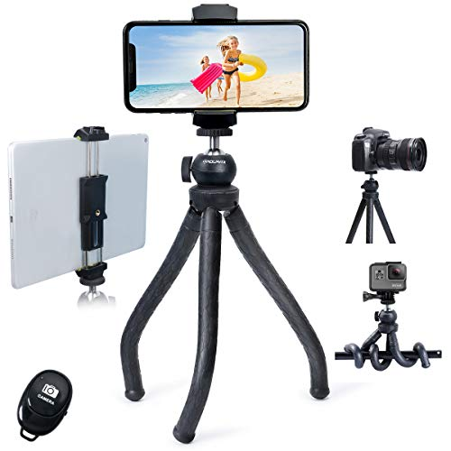 Endurax Flexible Tripod for Phone Camera Tripod Stand with Universal Cell Phone & Tablet Holder Compatible with iPhone, iPad, DSLR, Sports Camera for Selfie or Vlogging