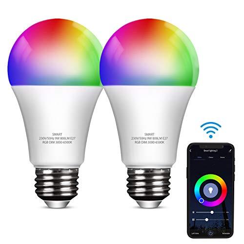 YU YUSING LED Glühbirnen E27 Alexa RGB, 9W Smart Lampen Wlan Dimmbare, 806Lm, Kompatibel mit Alexa und Google Home, 2er
