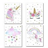 Xiton Peintures sans Cadre 4Pcs Unicorn Motif Peintures Affiches décorations Décoration d'intérieur
